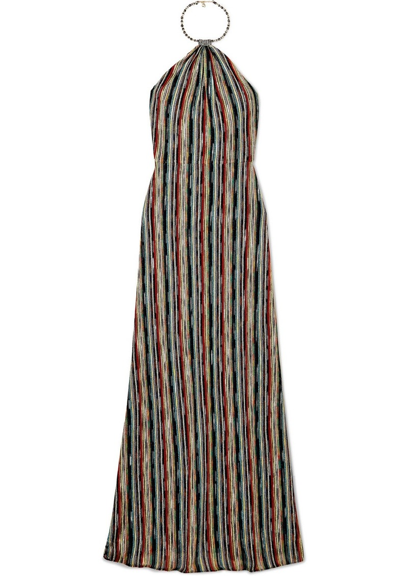 Missoni Striped Metallic Crochet-knit Halterneck Maxi Dress