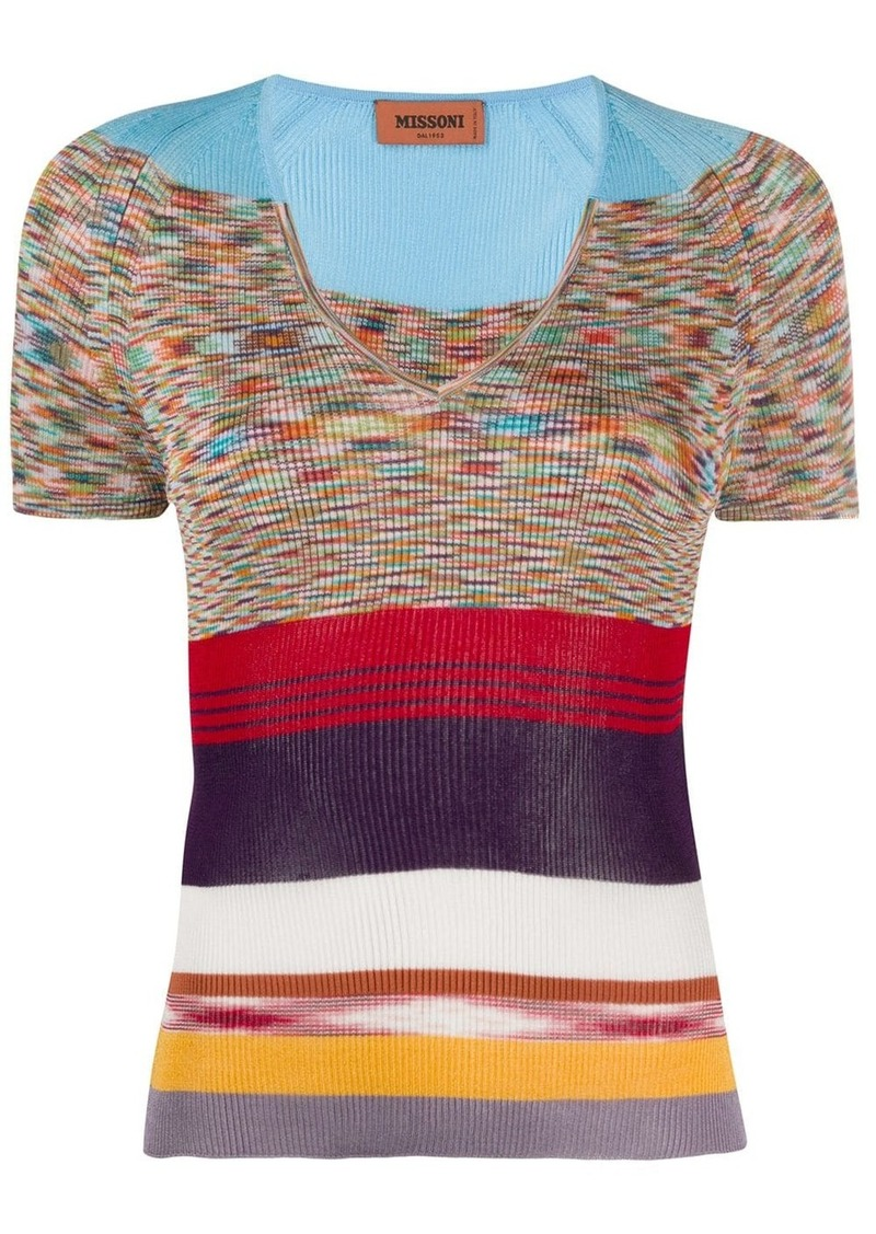 Missoni V-neck block color knitted top
