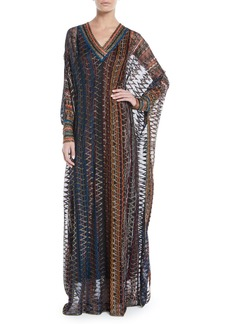 Missoni V-Neck Long-Sleeve 3-D Metallic Zigzag Long Kaftan Gown