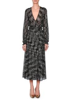 Missoni V-Neck Long-Sleeve Flame-Stitch Wrap Dress