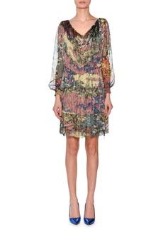 Missoni V-Neck Long-Sleeve Floral-Print Chiffon Dress w/ Allover Fringe
