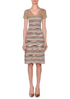 Missoni V-Neck Short-Sleeve Striped Space-dye Dress