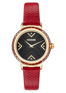Women's Missoni Chevron Joy Leather Strap Watch