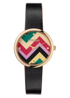 Women's Missoni M1 Joyful Chevron Dial Leather Strap Watch