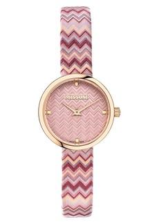 Women's Missoni M1 Joyful Chevron Leather Strap Watch