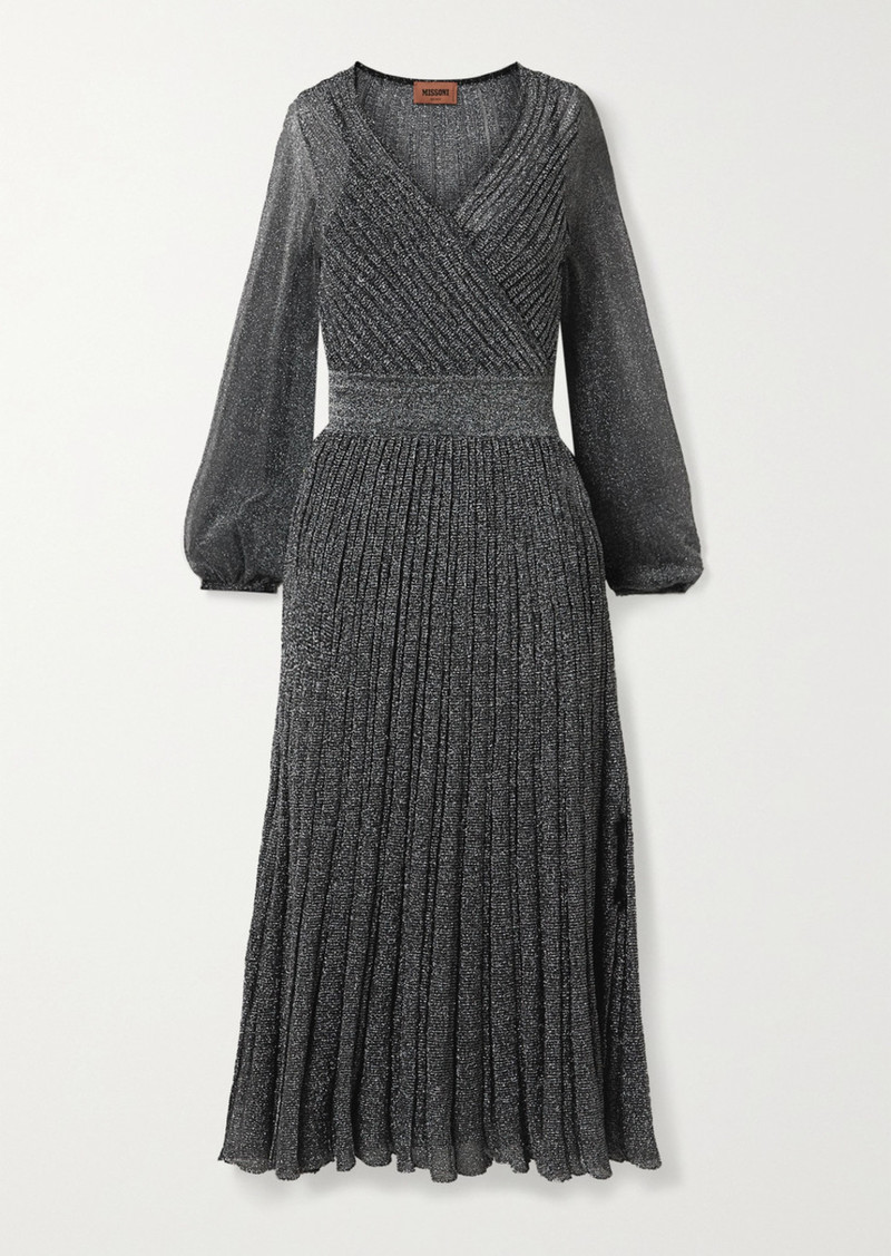 Missoni Wrap-effect Metallic Crochet-knit Midi Dress