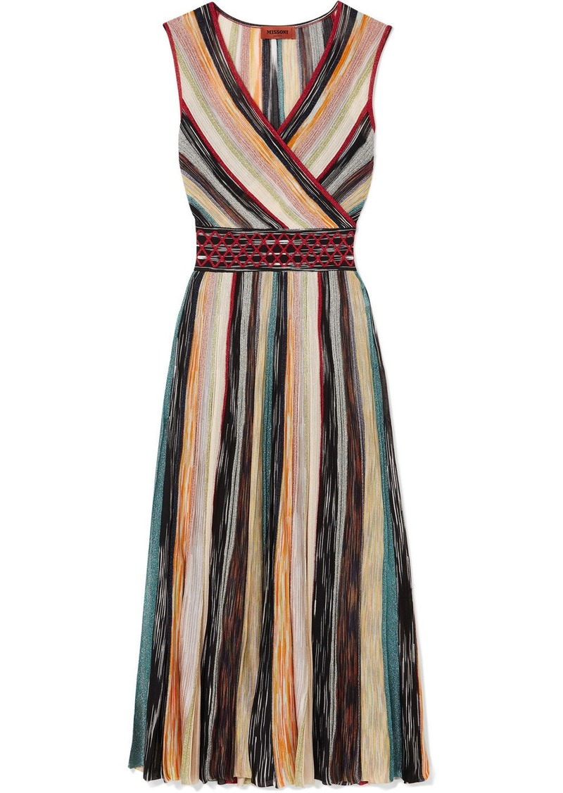 Missoni Wrap-effect Metallic Crochet-knit Silk-blend Midi Dress