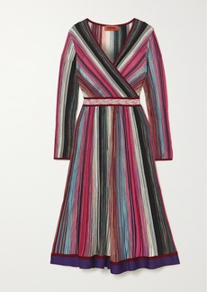 Missoni Wrap-effect Striped Crochet-knit Dress