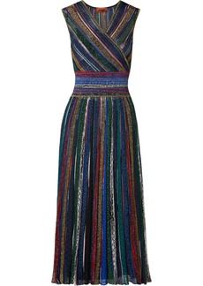 Missoni Wrap-effect Striped Metallic Crochet-knit Midi Dress