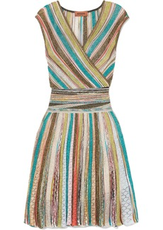 Missoni Wrap-effect Striped Metallic Crochet-knit Mini Dress