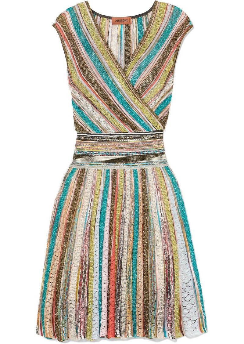 Missoni Wrap-effect striped metallic crochet-knit mini dress | Dresses