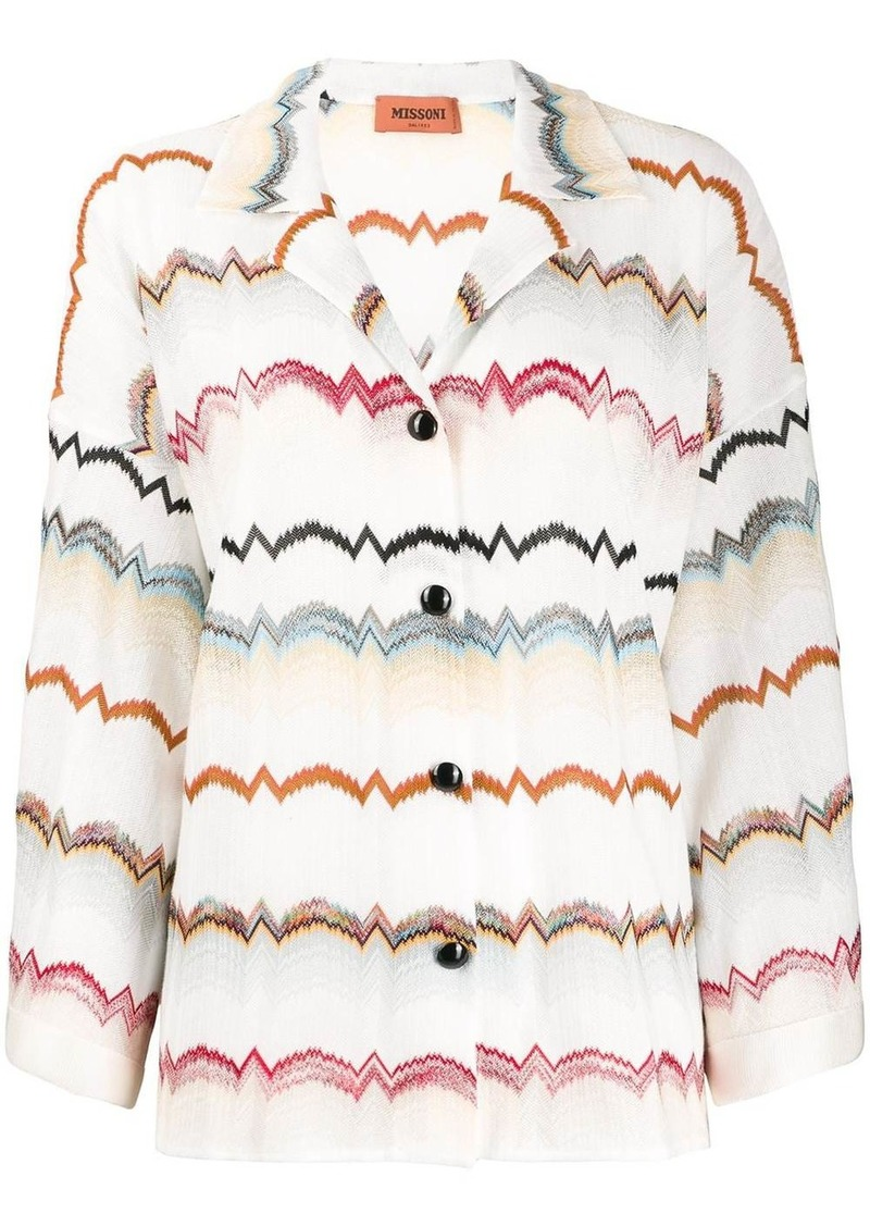 Missoni zig-zag crochet-knit shirt