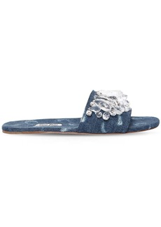 Miu Miu 10mm Crystals & Denim Slide Sandals