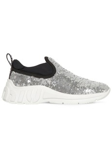 Miu Miu 10mm Sequined Slip-on Sneakers