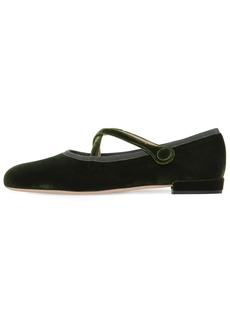 Miu Miu 10mm Velvet Mary Jane Ballerina Flats