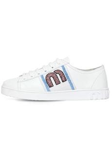 Miu Miu 20mm Beaded Logo Leather Sneakers
