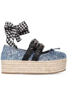 Miu Miu 45mm Buckled Glittered Ballerina Wedges