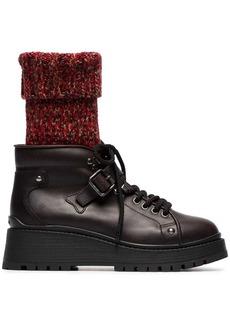 Miu Miu 55 sock leather combat boots