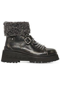 Miu Miu 55mm Bouclé Sock Leather Ankle Boots