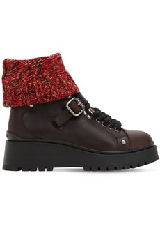 Miu Miu 55mm Knit Sock Leather Ankle Boots