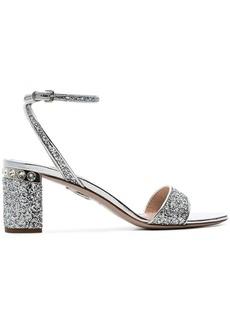 Miu Miu silver 65 Glitter block sandals