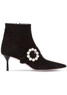 Miu Miu 65mm Embellished Buckle Suede Ankle Boot