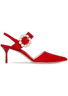 Miu Miu 65mm Embellished Buckle Suede Pumps