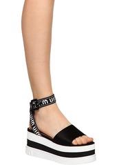 Miu Miu 80mm Nylon & Satin Wedge Sandals
