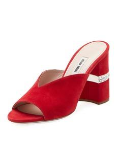 Miu Miu 85mm Block-Heel Suede Slide Sandal