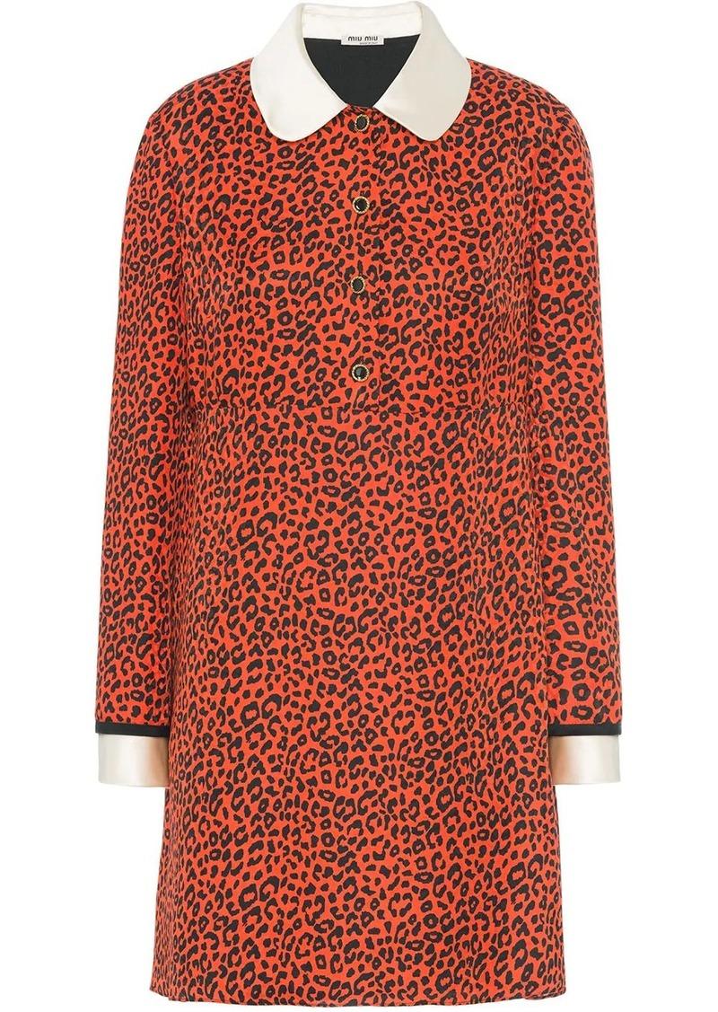 Miu Miu animal print silk mini dress