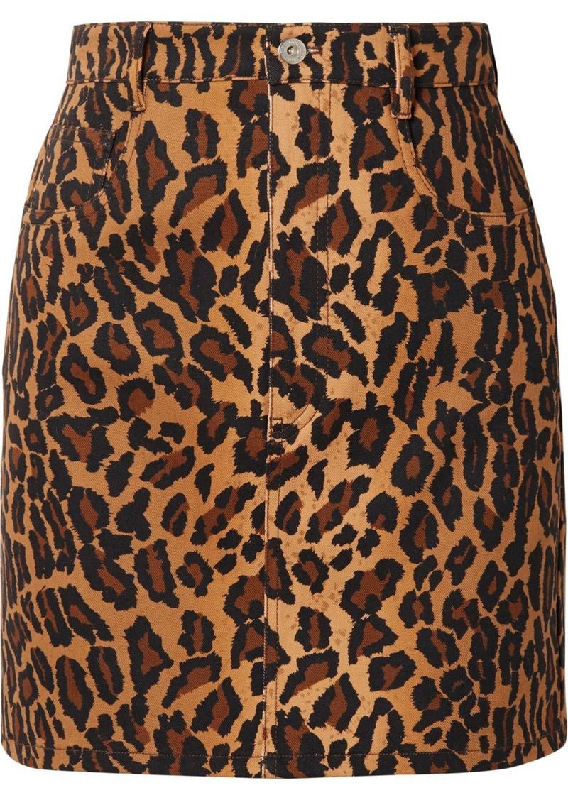 Miu Miu Appliquéd Leopard-print Denim Mini Skirt