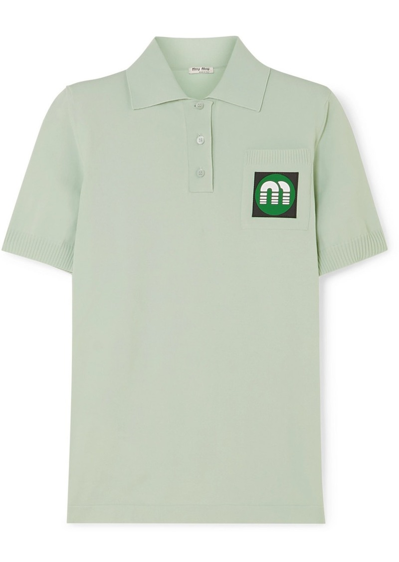 Miu Miu Appliquéd Stretch-knit Polo Shirt