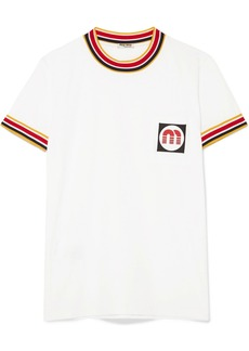 Miu Miu Appliquéd striped cotton-jersey T-shirt