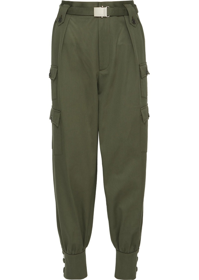 Miu Miu Belted Cotton-gabardine Tapered Pants