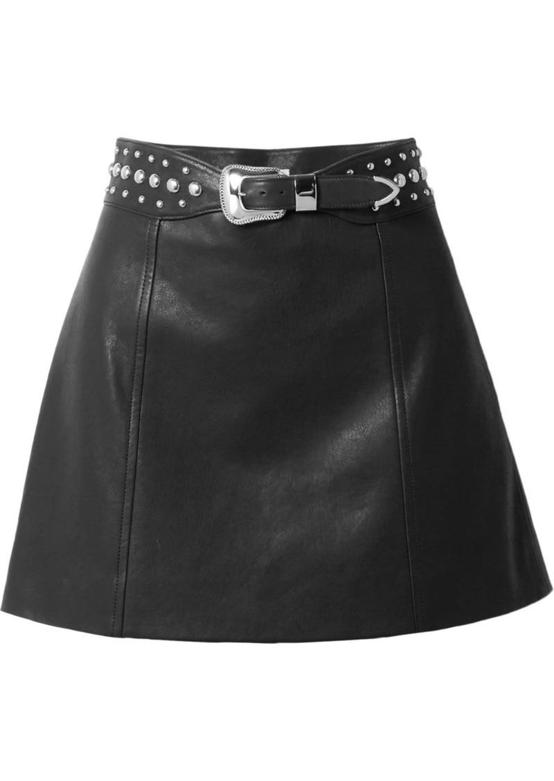 Miu Miu Belted Studded Leather Mini Skirt