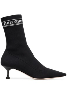 Miu Miu black 55 logo fabric sock boots