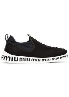 Miu Miu black and white jewelled stretch logo sneakers