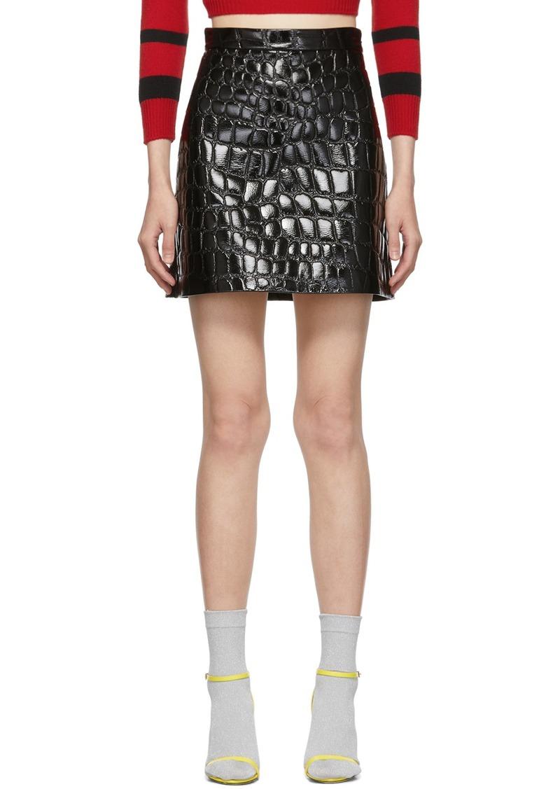 Miu Miu Black Ciré Croc Miniskirt