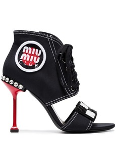 Miu Miu black club patch 105 canvas sandals