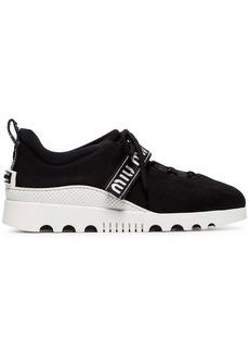 Miu Miu black low top lace up fabric sneakers