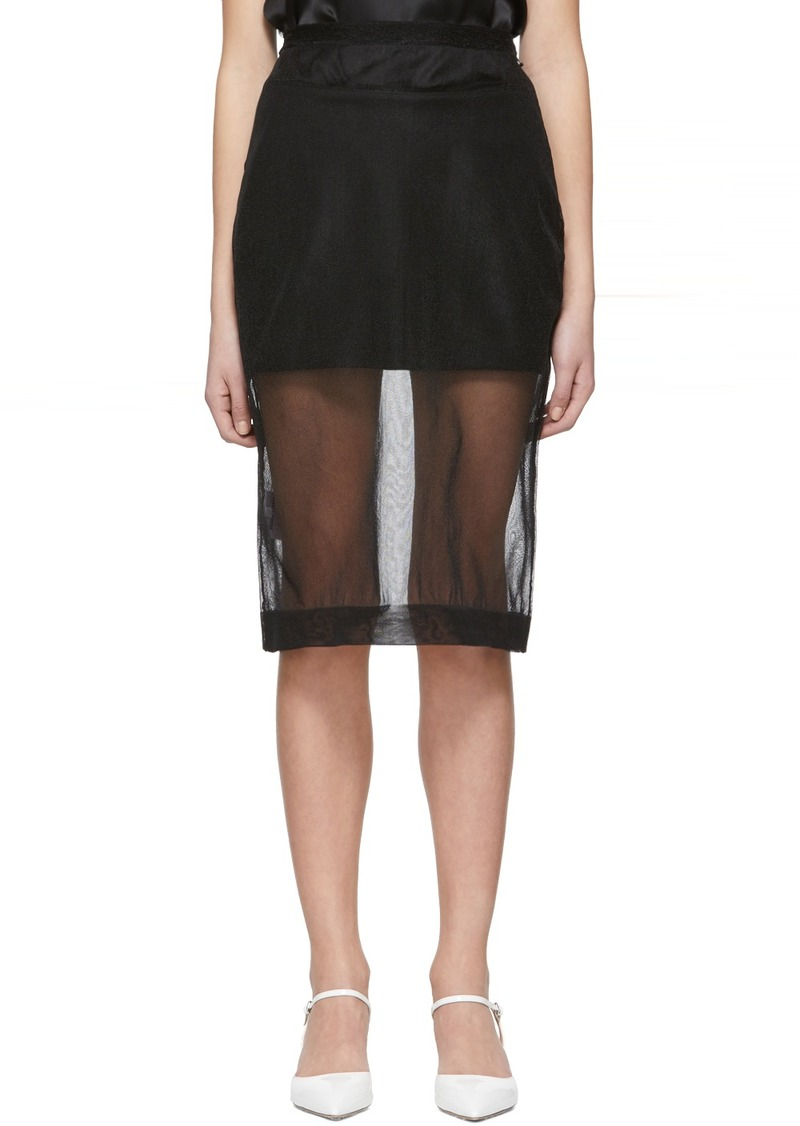 Miu Miu Black Nylon Mesh Pencil Skirt