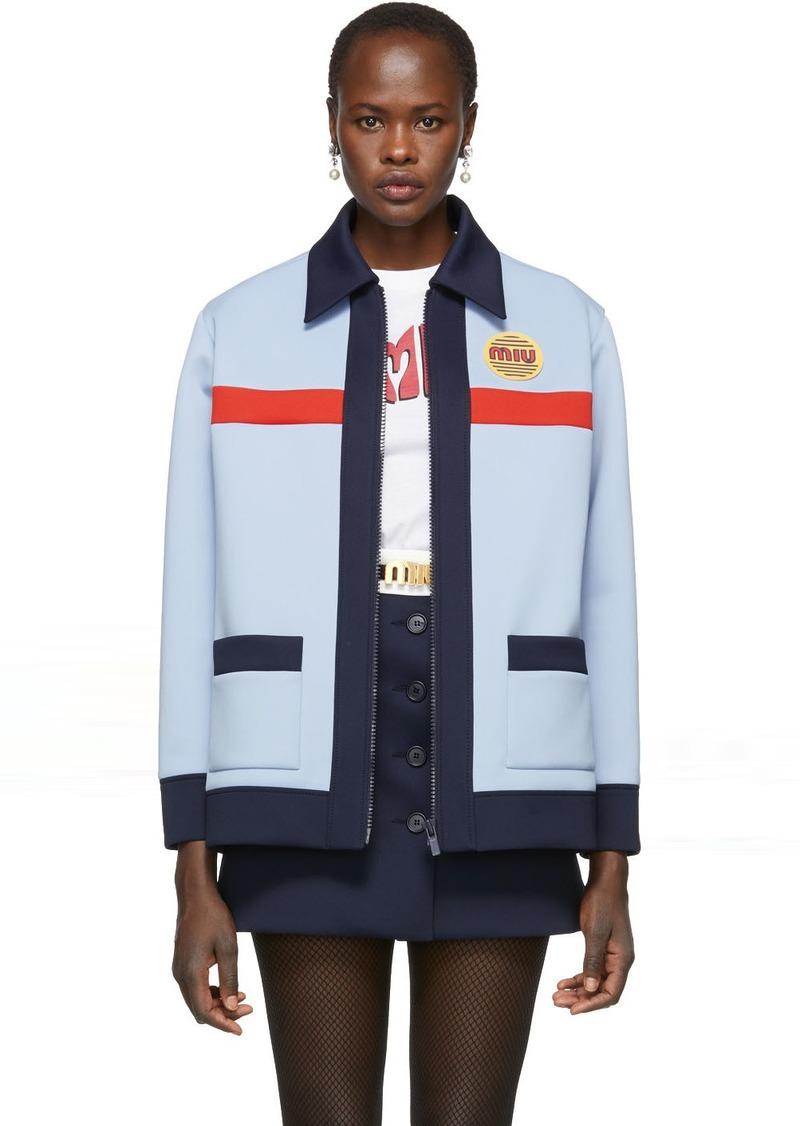 Miu Miu Blue Techno Jersey Jacket