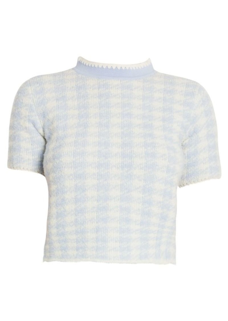 Miu Miu Bouclé Check Mockneck Wool-Blend Knit Top