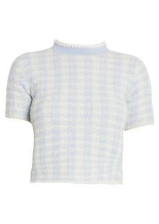 Miu Miu Bouclé Check Mockneck Wool-Blend Knit Top