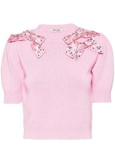 Miu Miu bow-detail cashmere jumper