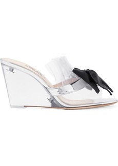 Miu Miu Bow-embellished Perspex And Metallic Leather Wedge Sandals