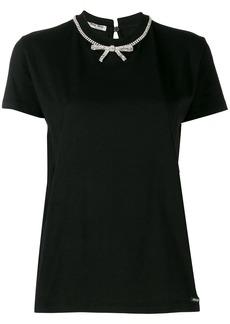 Miu Miu bow embellished T-shirt