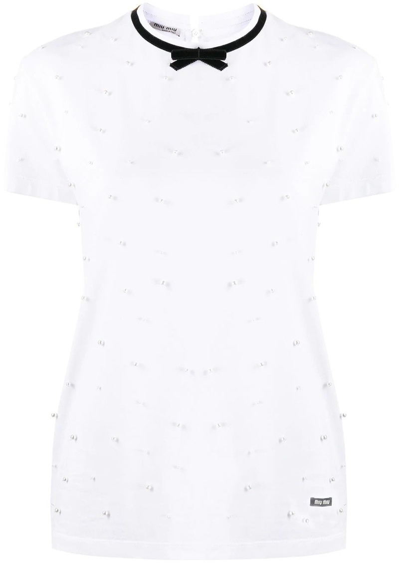 Miu Miu bow faux-pearls T-shirt