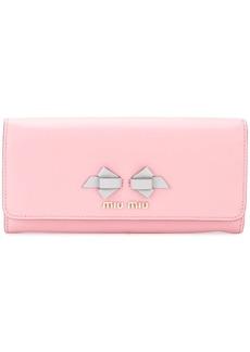 Miu Miu bow logo continental wallet
