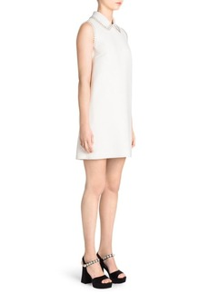 Miu Miu Cady Embellished Collared Mini Dress